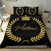 African American Crown King Personalized Name Duvet Cover Bedding Set