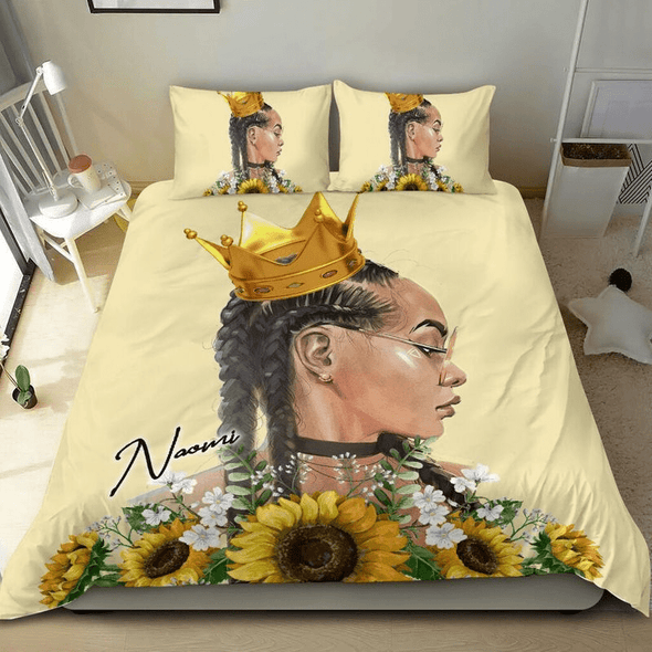 Black queen Sunflower crown gold Personalized Name Duvet Cover Bedding Set #287H