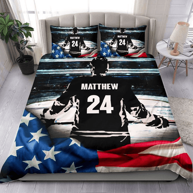 Hockey Flag American Personalized name & number Duvet Cover Bedding Set #58H
