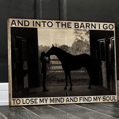 Farm girl into the barn canvas print for horse lover #V