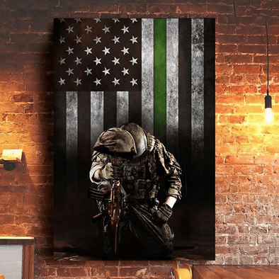 Soldier Army Military Veteran Thin Green Line American Flag Canvas Prints Wall Art #V