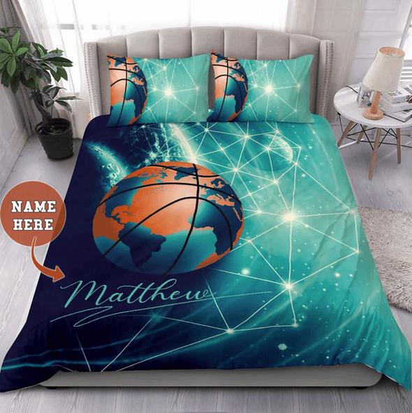 Basketball Green Earth Galaxy Personalized Duvet Cover Bedding Set with Your Name and Number #2707DH