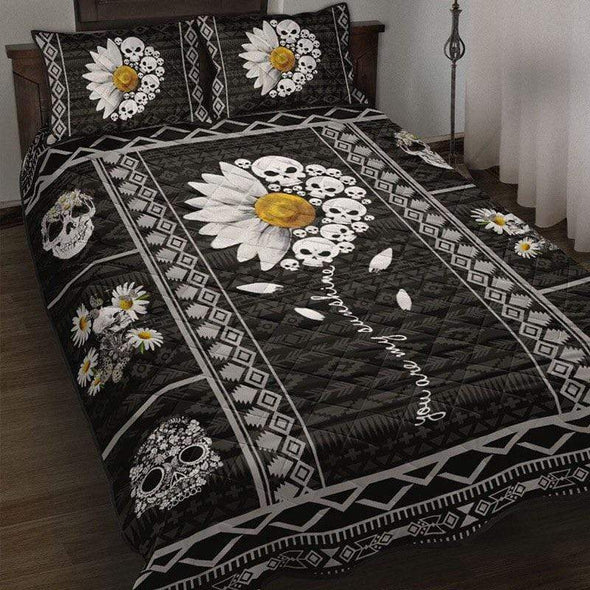 You are my sunshine white daisy flower with skull quilt bed set #H