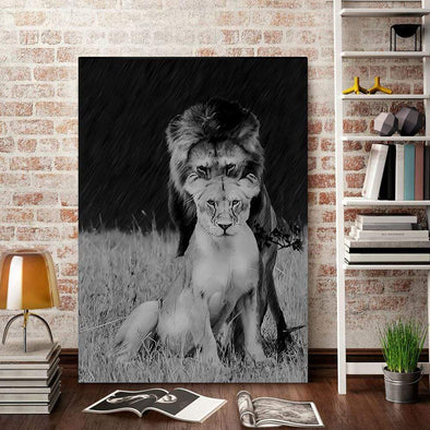 Lion Love Couple Canvas Prints #2109V