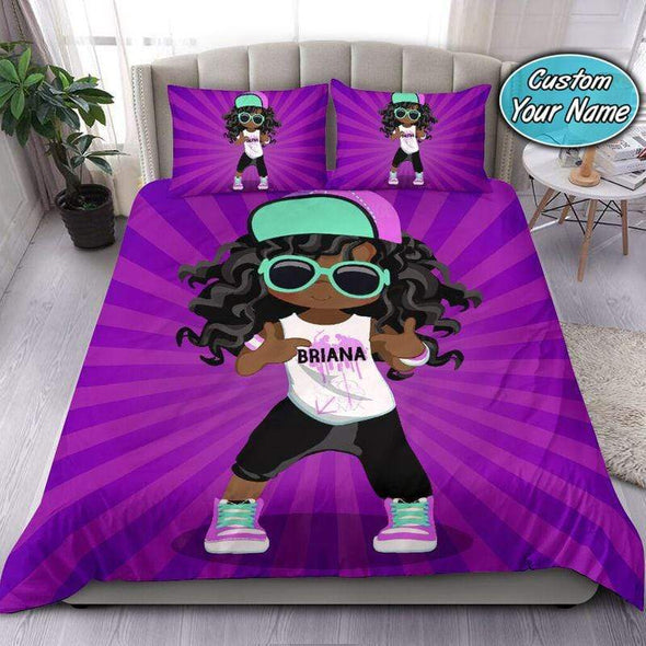 Dancing Black girl wear glasses African Personalized Name Duvet Cover Bedding Set #2307v