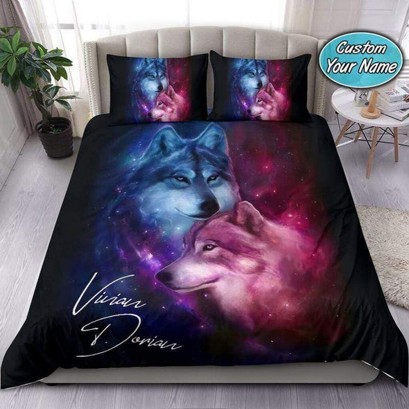 Wolf Couple Ying Yang Personalized Duvet Cover Bedding Set with Your Name #3007V