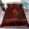 Black Pretty Girl Red Dress Custom Name Duvet Cover Bedding Set #207V