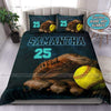 Turquoise Green Softball Ball In Glove Personalized Duvet Cover Bedding Set with Your Name #138v