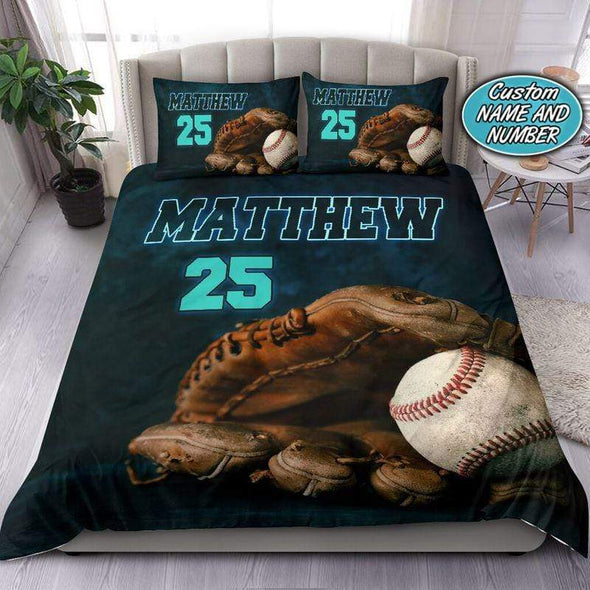 Turquoise Green Baseball Ball In Glove Personalized Duvet Cover Bedding Set with Your Name #138v