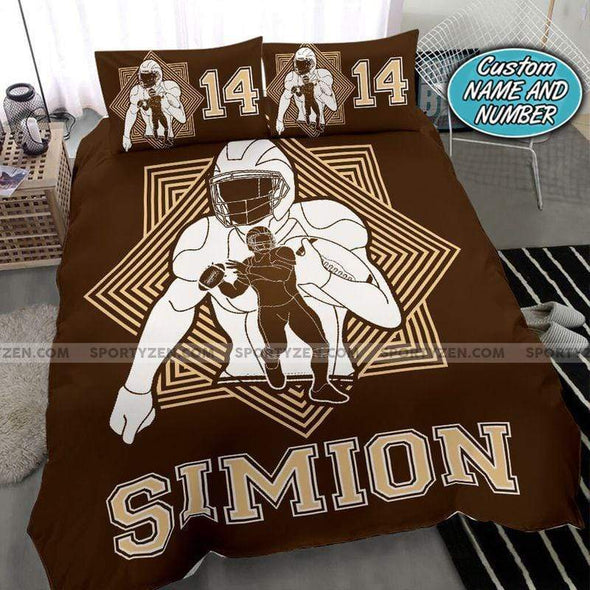 American Football Brown Background Personalized Duvet Cover Bedding Set with Your Name #258v