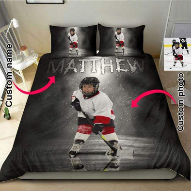 Hockey Player Personalized Your Photo Duvet Cover Bedding Set with Your Name #148v