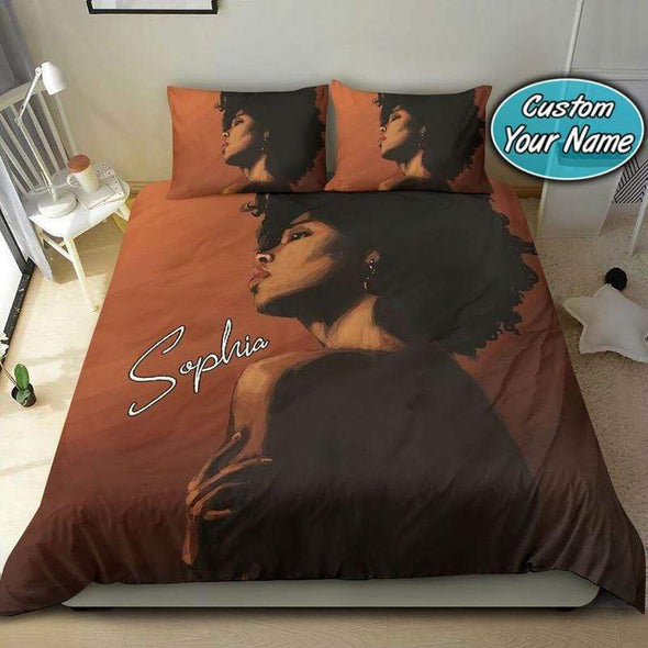 Black Gorgeous Woman Brown Bedding Personalized Name Duvet Cover Bedding Set #1009V
