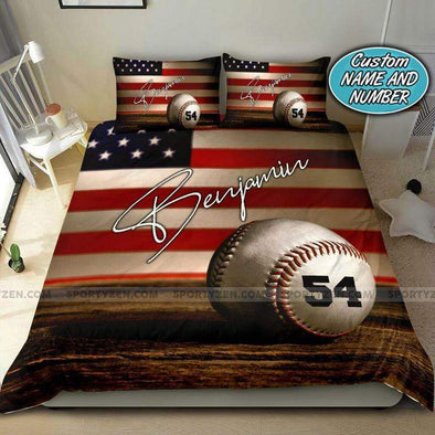 American Flag Baseball Ball Personalized Duvet Cover Bedding Set with Your Name #198v
