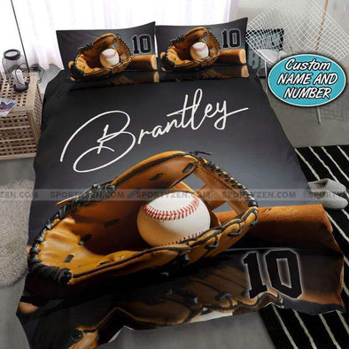 Gray Baseball Glove And Ball Personalized Duvet Cover Bedding Set with Your Name #218v