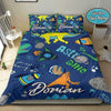 Astronaut Dinosaur Pattern Personalized Name Duvet Cover Bedding Set #128v