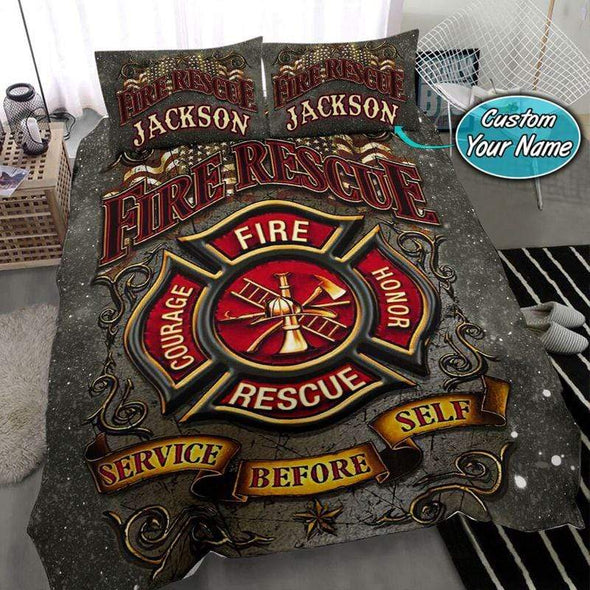 Fire Recure Firefighter Personalized Name Duvet Cover Bedding Set #268v