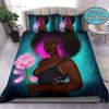 Black Girl Magical Art Flower Duvet Cover Bedding Set Personalized Name #210920V