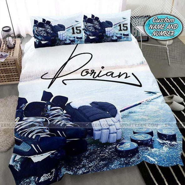 Ice hockey stuff Personalized Duvet Cover Bedding Set with Your Name #1007v