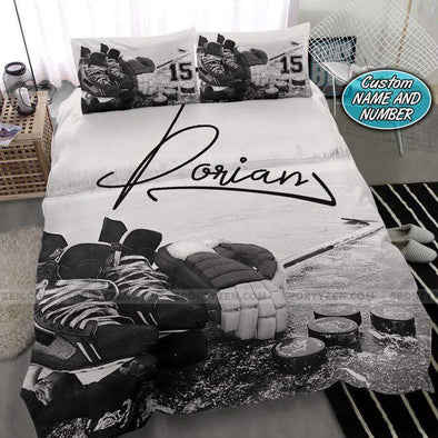 Black white hockey stuff Personalized Duvet Cover Bedding Set with Your Name #1007v