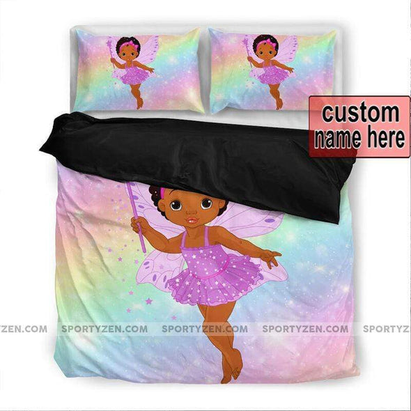 Cute Black Baby kid Afro with Rainbow Personalized name Duvet Cover Bedding Set #116v