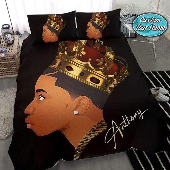Black Boy King Crown Personalized Duvet Cover Bedding Set with Your Name #68v