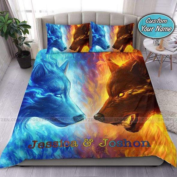 Fire and Water Wolf theme Personalized Name Duvet Cover Bedding Set #157v