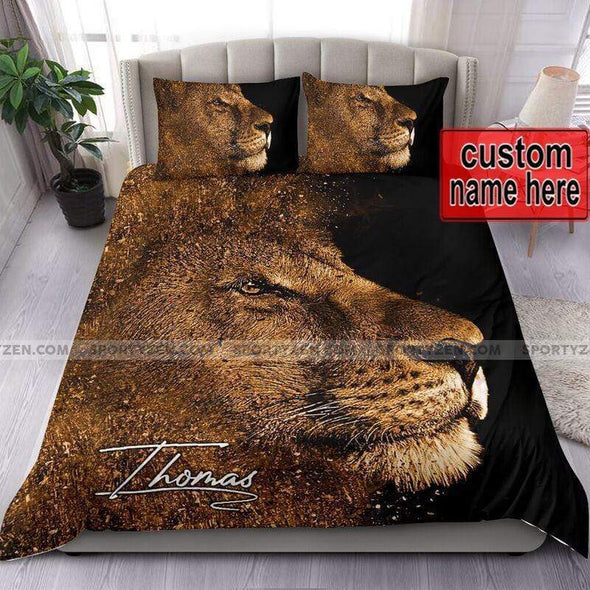 Lion Side Face Personalized Duvet Cover Bedding Set with Your Name #107V