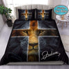 Lion Cross Personalized Name Duvet Cover Bedding Set #2907V