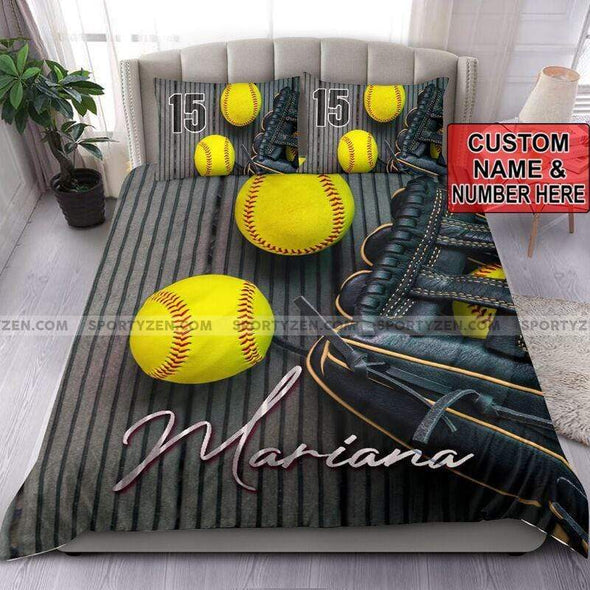 Softball Balls and Glove Personalized Duvet Cover Bedding Set with name #0606v