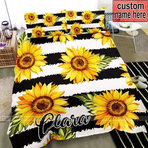 Sunflower with black and white background Personalized Duvet Cover Bedding Set with Name #1805v