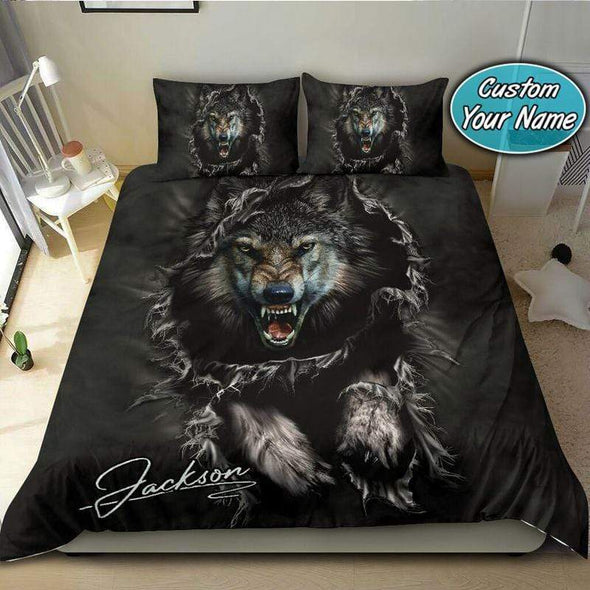 Grey Wolf Bedding Personalized Name Duvet Cover Bedding Set #309V