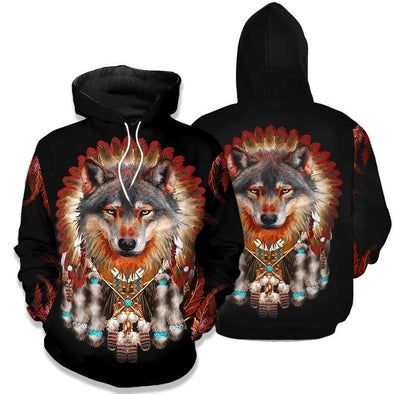 Native American Grey Red Wolf Hoodie 3D All Over Print #h