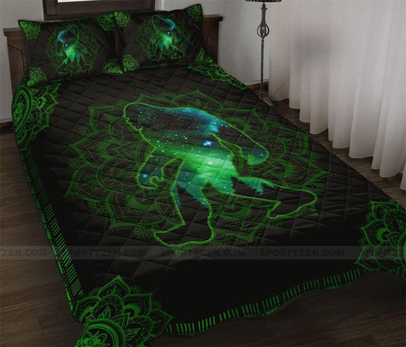 Amazing Bigfoot Galaxy Green Mandala Quilt Bed Set #218l