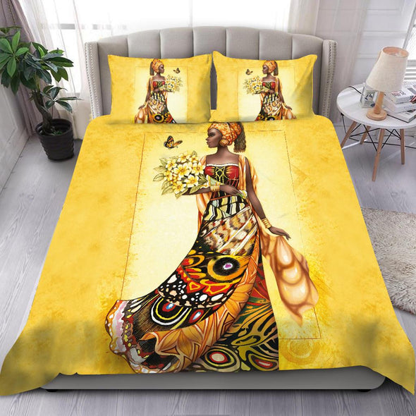 Beautiful African Girl And Flower Bedding Personalized Name Duvet Cover Bedding Set #H