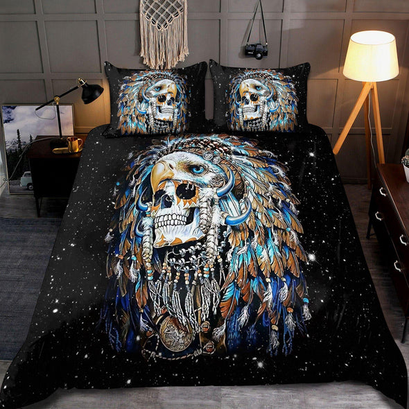 Native Skull Galaxy Personalized Name Duvet Cover Bedding Set