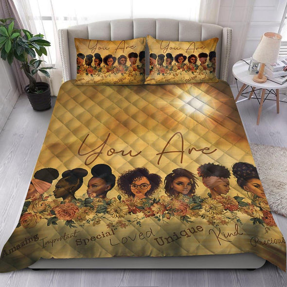 You Are Amazing Black Girl Quilt Bed Set #V