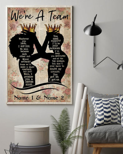 Custom Black King And Queen We're are a team canvas wall art print