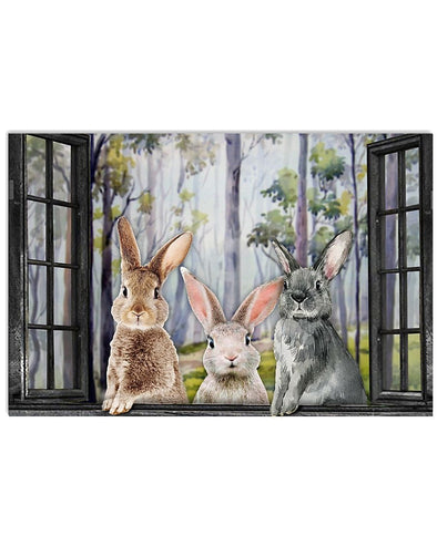 Cute Rabbits By The Window Canvas Prints #V
