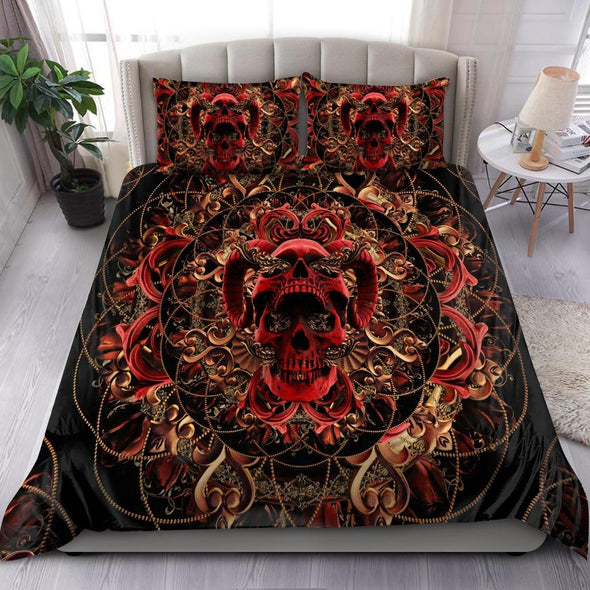 Skull And Rose Personalized Name  Duvet Cover Bedding Set #DH