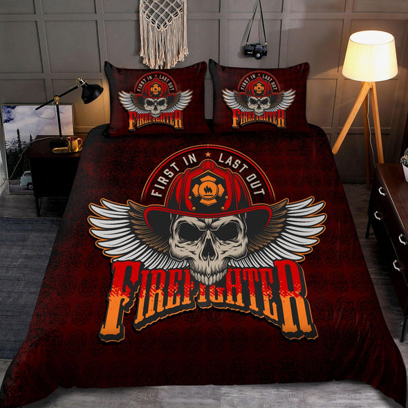 Cool Skull Firefighter Bedding Personalized Name Duvet Cover Bedding Set