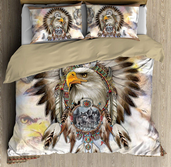 Native American Eagle And Grey Wolfs Dreamcatcher Bedding Duvet Cover Bedding Set