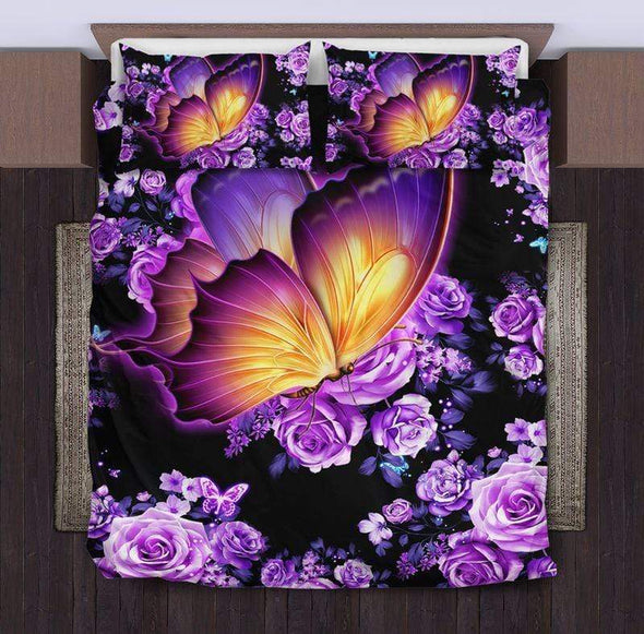 Butterfly Rose Purple Duvet Cover Duvet Cover Bedding Set #V