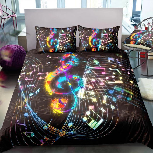 Colorful Magical Music Notes Bedding Duvet Cover Bedding Set #DH