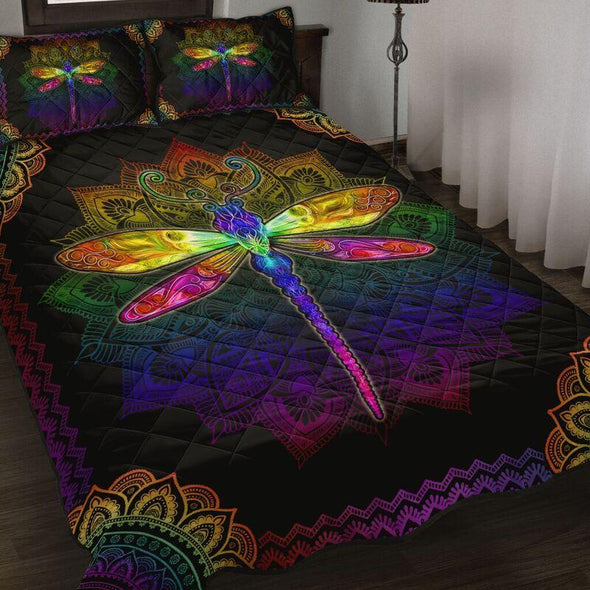 Dragonfly Colorful Bohemian Quilt Bed Set