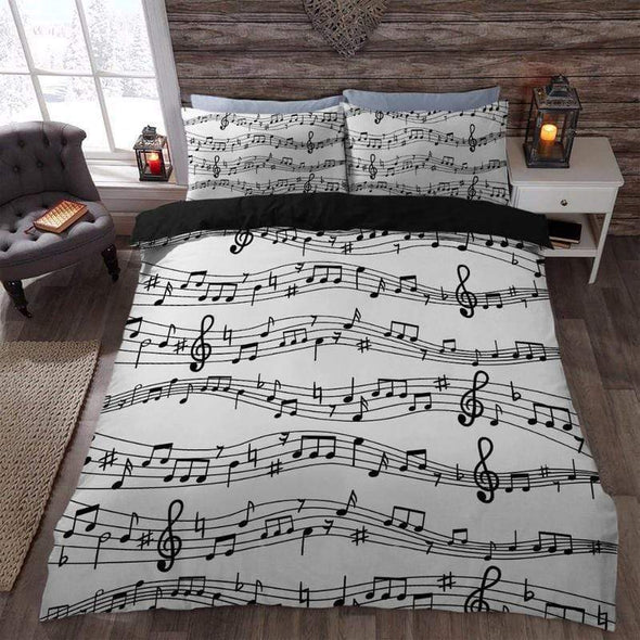 Music Note Printed Bedding Personalized Name Duvet Cover Bedding Set #H