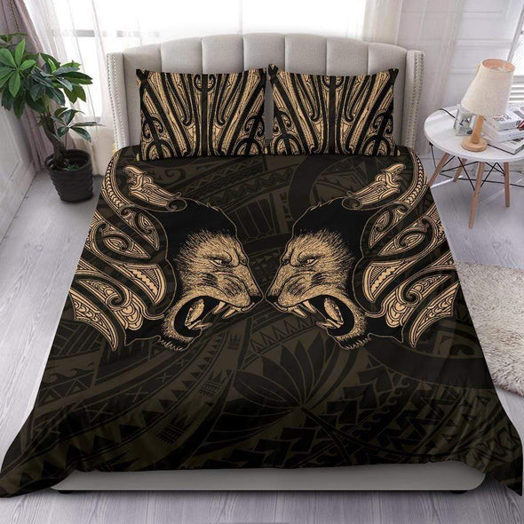 Double Lion Maori Tattoo New Zealand Bedding Personalized Name Duvet Cover Bedding Set #V