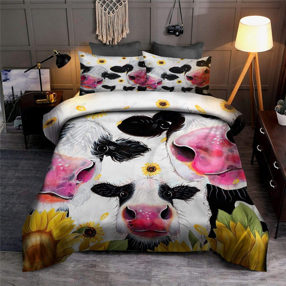 Family Cow Sunflower Duvet Cover Bedding Set #H