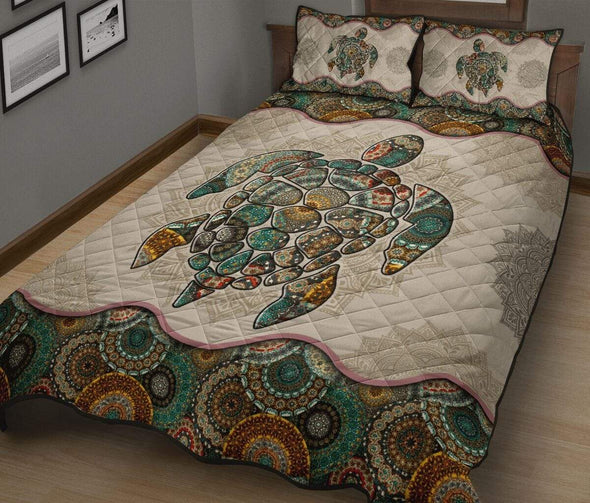 Sportyzen Turtle Bohemian Quilt Bed Set