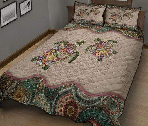 Mandala Turtle Quilt Bed Set Personalized Name #2709HL