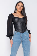 Black Corset Top With Sheer Sleeves